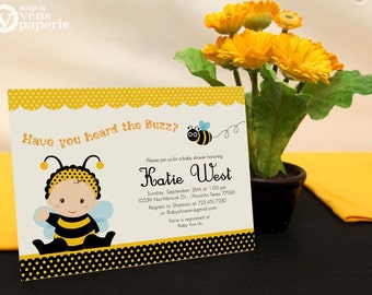 DIY PRINTABLE Invitation Card - Bumble Bee Baby Shower Invitation - BS816CB1a1