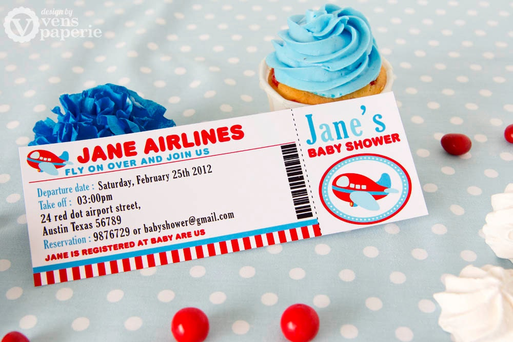 diy printable invitation card airplane baby shower