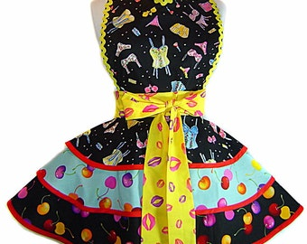 My Cherry Amour Pinup Diner Valentine Apron-A Tie Me Up Aprons Exclusive