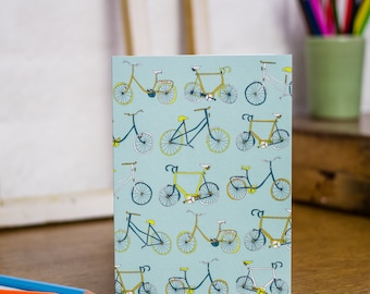 Take the Bike greetings card designed by Jessica Hogarth. Illustrative stationery showcasing colourful drawings of bikes. Printed in the UK.