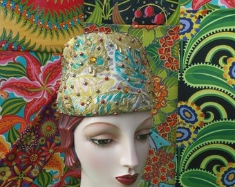 Vintage 1960's Brocade Fez Hat Rainbow Gold Lame Tropical Leaf Toque Red Green Gold Silver Studs and Rhinestones label: design by Patrice