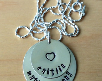 Sterling Silver Hand Stamped Personalized Necklace