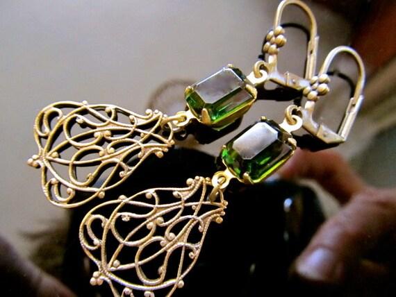 Emerald City- SALE Vintage Emerald Green Jewel with Art Nouveau Deco Antique Brass Filigree