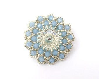 Brooch, Beaded Blue Brooch, Swarovski Opal Blue Crystals, Statement Brooch