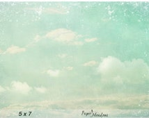 Dreamy Cloud Sky Photo Download, Fluffy, Soft clouds, Blue and Green, Wall Decor, Nursery Photo, Summer Photography, 5x7, 8x10, 12x8, 11x14