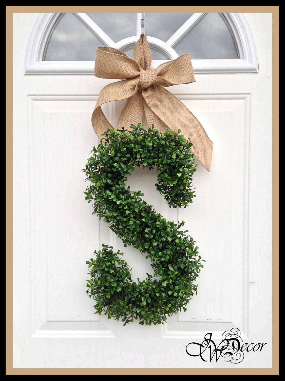 Monogram Wreath Wreaths Year Round Wreath Door Arificial