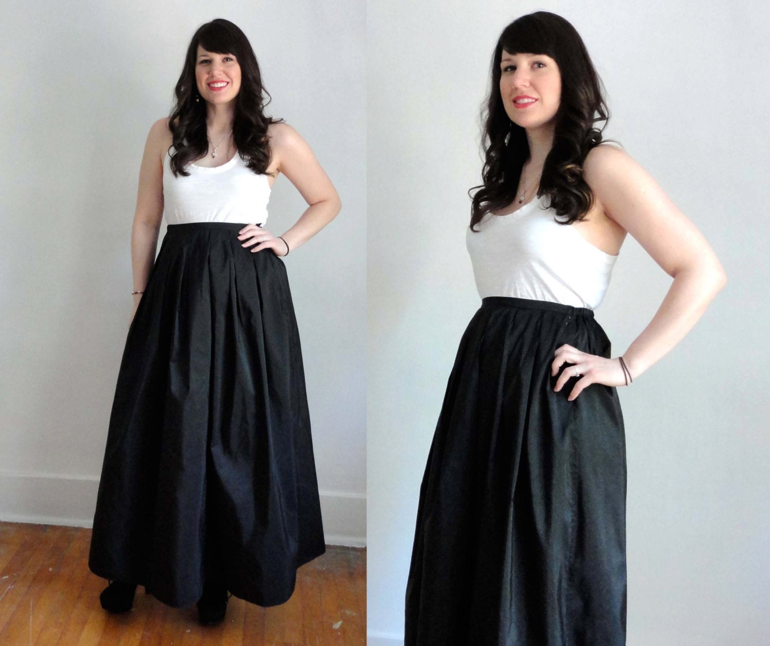 Vintage Silk Maxi Skirt Black Ballroom Formal Lord & Taylor