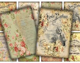 Digital Images - Digital Collage Sheet Download - Shabby Floral Tags -  83  - Digital Paper - Instant Download Printables