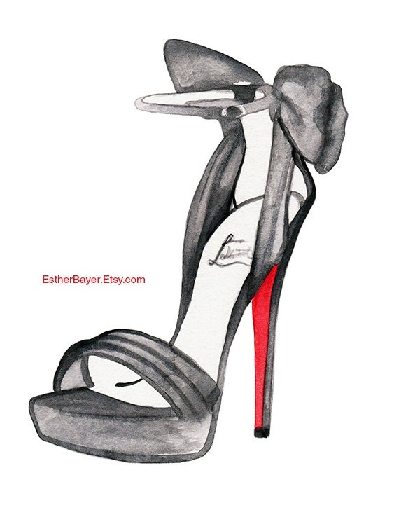 watercolor fashion illustration christian louboutin by