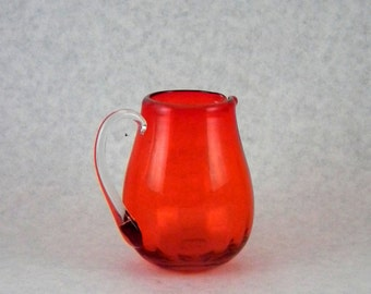 Pilgrim Glass 750 Tangerine Rib Optic Glass Pitcher - Vintage 1960s - 1970s Window Glass