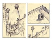 Fine art landscape painting signed print of Los Angeles California any wall room decor archival gray sepia tone ink wash signed 8.5x11