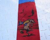 BKool Vintage Regency Roos Atkins Tie, Cowboy n Desert, Blues Reds, Mens Ties, Excellent Cond.