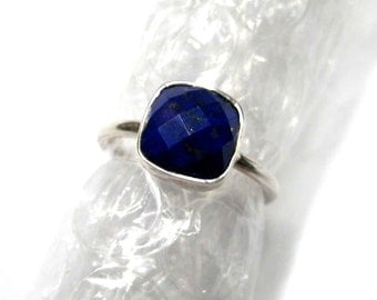 925 Sterling Silver Lapis Lazuli Ring , Fine Quality Chekker cut Faceted Cushion Shape gem stone Hand made Ring