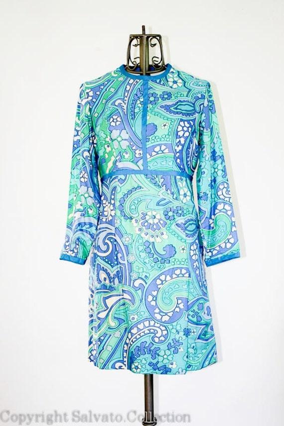 Mod Mini  Dress -  1960's MAREK Designer  // 100% Pure Silk