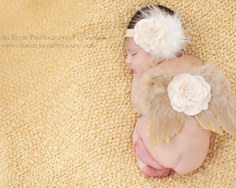 Newborn Angel Wings & Headband Set - Gold Beige Feather Headband Wings Set - Newborn Photo Prop Wings