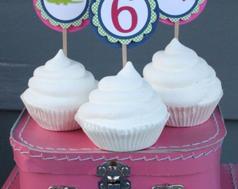 GIRLIE PREPPY ALLIGATOR Birthday Party Cupcake Toppers 12 {One Dozen} - Party Packs Available
