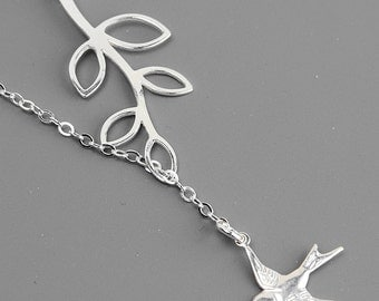 Sterling Silver Leaf Necklacev- Sparrow Necklace - Sterling Silver Branch Lariat Necklace - Sterling Silver Jewelry Handmade