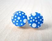 Cobalt Stud EArrings, White Polka Dots, Blue Studs, Blue Earrings, Japanese Chiyogami, Wood studs, Gift under 10, Cobalt earrings