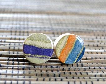 Stripes Ear Studs, Stripes Earrings, Purple, Teal, Neutral, Japanese Chiyogami, Wood studs, Gift under 10, wood earrings