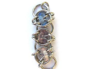 Glass Pendant, Chain Maille Pendant, Multicolor Pendant, Multi Color Glass Jewelry