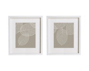 Two Prints   Gray Taupe Leaf Print Wall Art   West Elm Leaves