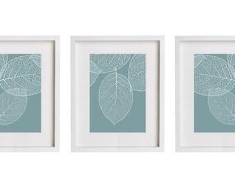 Set of 3 Prints French Blue Wall Art Modern Botanical Leaves