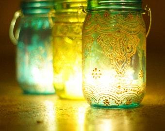 Moroccan Style Hanging Lantern, Teal Glass Mason Jar with Golden Details, Mehndi Inspired Design