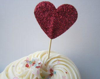 Valentine's Day. Glitter Red Heart Cupcake Toppers. 20 pieces
