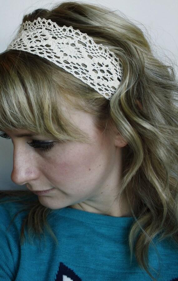 Ivory Crochet Lace Headband