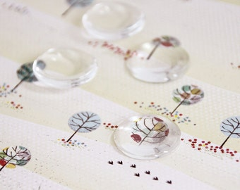 5 pcs Clear Round Glass Cabochons 20 mm