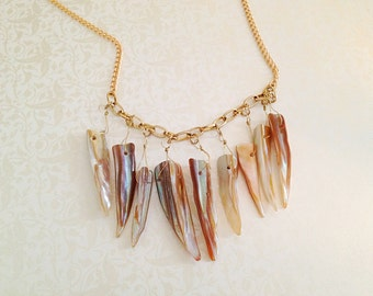 Shark Teeth Bib Necklace. Iridescent Shells. Beach. Nautical. Gold. Summer. Statement Necklace. Boho. Gold Glimmer. Tan.