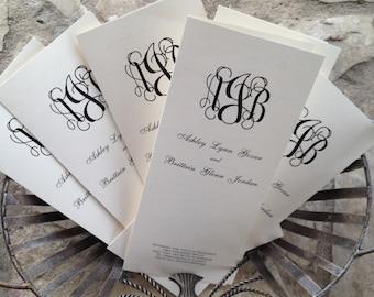 Custom Wedding Program, Folded Tea Length