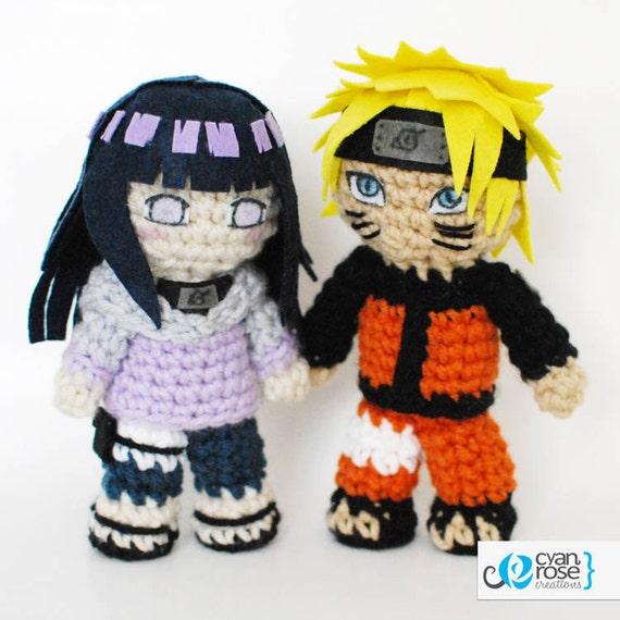 Amigurumi Naruto Pattern : SALE Hinata and Naruto set Crochet Plush Amigurumi Dolls