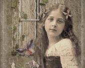 Beautiful Girl Digital Collage Greeting Card