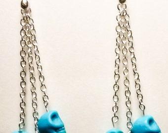 Skull Silver Dangle Earrings