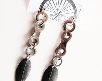 Bike Chain Link Feather Earrings - Recycled Jewelry - eco gift - handmade - bicycle