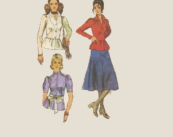 Simplicity Retro 70s Sewing Pattern Boho Style Peplum Waist Blouse Tapered Sleeves Shirt Midi Flared Skirt Uncut FF Bust 34