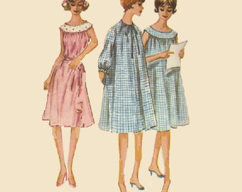 McCall's 60s Sewing Pattern Baby Doll Nightgown Duster House Dress Loose Fit Long Sleeves Sleeveless Rounded Collar Lingerie Pajamas Bust 32