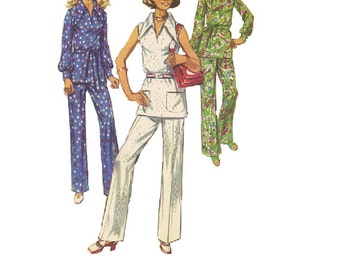 Retro 70s Sewing Pattern Straight Leg Pants Long Sleeve Tunic Wide Pointed Collar Shirt Loose Fit Blouse