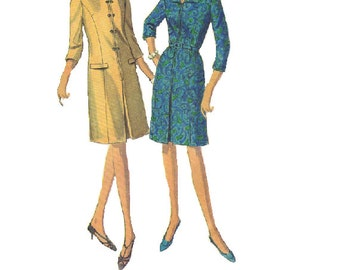 Simplicity 6585 Sewing Pattern 1960s Mad Men Style Princess A-Line Dress Short Elbow Length Sleeves Pleated Skirt Uncut Bust 36