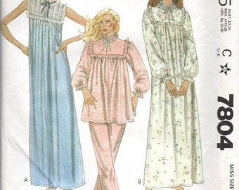McCall's 80s Sewing Pattern Long Nightgown Frilly Pajamas Two Piece PJs Retro Baby Doll Night Shirt Size Medium Bust 36