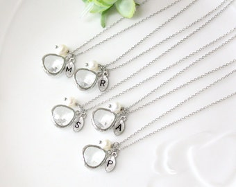 Bridesmaid gifts - Set of 4, 5, 6 -Leaf initial, Clear crystal pendant necklace, with swarovcki pearl, Initial necklace, B0060-W