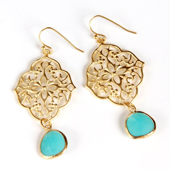 Moroccan Aqua Earrings - Briolettes, Gold Filigree, Blue Green, Chandelier