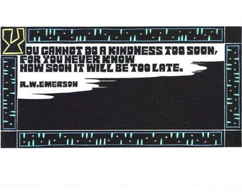 Original Linocut of Quote By R.W. Emerson by Ken Swanson (1245)