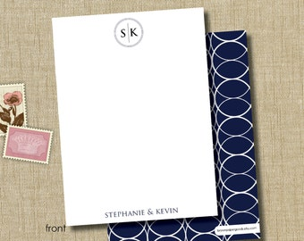 Personalized couples stationery. Personalized flat note cards