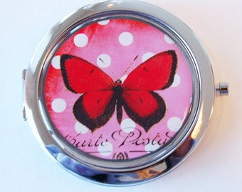 Butterfly compact mirror, mirror, purse mirror, compact mirror, red, butterfly, gift for her, red butterfly, red compact mirror (2086)
