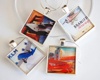 Wine Glass Charms, Airplane, Airplane Charms, Vintage Planes, Wine Charms, airlines, entertaining, barware (2400)