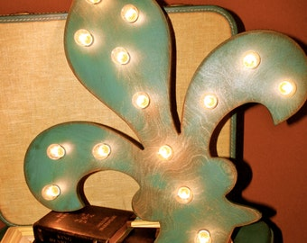 "24"" Large Fleur De Lis Vintage Marquee Lighted Wood"