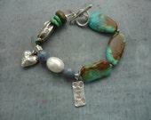 Artisan, Turquoise, Sterling Silver, Charm Bracelet