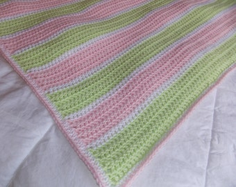 Light Pink and Green Striped Baby Blanket